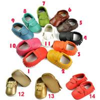 Hot mocasines bebé Ventas moccs únicos auténticos botines de cuero prewalker niños pequeños / bebés / niños zapatos mocasín de cuero de vaca franja blandos