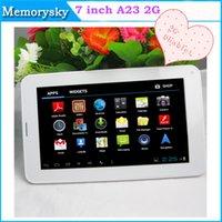 al por mayor android tablet with sim card slot-PC 7inch Allwinner A23 phablet 2G GSM tableta del teléfono con la tarjeta Sim 512M Slot + 4G Bluetooth doble cámara de Android 4.2 Dual Core GSM tabletas 002396