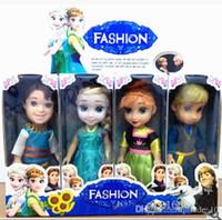 Wholesale Frozen Dolls inch Elsa Anna Toy Doll Action Figures Vinyl Frozen Doll Frozen Toy Kids Gift Frozen Doll Toy in box set LJJE152 set