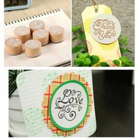 Wholesale New Arrival Wooden Round Handwriting Wishes Sentiment Words Floral Pattern Rubber Stamp Scrapbook For Decoration School