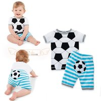 Cheap Wholesale-2015new Arrivals summer baby boys girls set Casual Football clothing set tops+shorts sport suit 2pc newborn clothes toddler wear