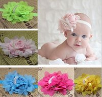 Wholesale Baby Girls Kids Lovely Roses Pearls Hair Bands Vintage Flowers Hair Accessories Pretty Headbands Infant Headbands