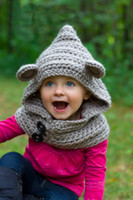 bear hooded scarf - baby Hooded Bear Cowl Animal Hat Hooded Scarf Crochet Hoodie Handmade Knitted Chunky Wool Hooded Cowl The Tundra
