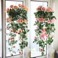 hanging flower basket - Vine Artificial Flower Silk Flowers Rose Electric Meter Flower Wedding Decoration Wall Hanging Basket Flowers Rattan Vase
