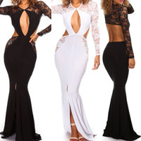 Cheap Side Slip Evening Dresses Gown V Neck Side Cut Sheer Back Mermaid Evening Dress Lace Backless for Women Sexy Prom Dresses in Stock