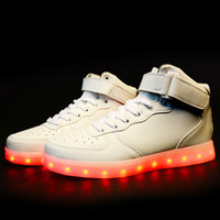 led point - 8 Colors Men LED Shoes Autumn Winter High Top Growing Shoes For Man Luminous Lights Shoes White Black Freeshipping