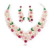 Wholesale 2015 New Fashion Wedding Bridal Bridesmaid Prom Ladies Blue Pink Crystal Rhinestone Flowers Pendant Beaded Necklace Earrings Jewelry Set