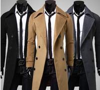Wholesale 2015 New Brand Winter mens long pea coat Men s wool Coat Turn down Collar Double Breasted men trench coat