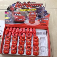 Wholesale 120pcs Lightning McQueen Spinning Top Car Toys With Light Amusement gyro flash electric gyroscope for kids baby Red TT37773967519 z