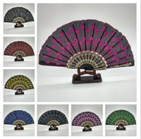 lace hand fan - Embroidered Fabric Folding Held Fans Wedding Party Bridal Dance Dancing Fans Sequins Peacock Lace Elegant Hand Fans