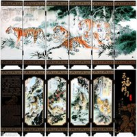 Wholesale Chinese Handmade Vintage Happy Tigers Wooden Lacquer Six Pieces Folding Screen