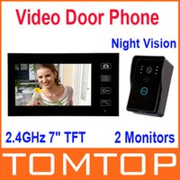 Wholesale 2 GHz quot TFT Wireless Video Door Phone Hands Free Visual Intercom Doorbell Photo Taking Touch Key Monitors EMS Freeshipping