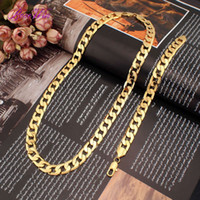 Wholesale Hot Sell Jewelry Set mm Long Vacuum Plated K Gold Chain Necklaces mm Link Chain Bracelet Fashion Sets MIAMI CUBAN