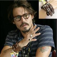 Wholesale Leather Men Wrap Punk Bracelet Wristband Belt Buckle Johnny Depp Fashion Jewelry Pulseira Masculina Male Handmade Bijoux