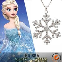 Wholesale Frozen Elsa Rhinestone Snowflake Pendant Necklace Children Kids High quality Jewelry Holiday Gifts a749