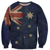 australia sweatshirt - Women men harajuku style tie dye hoodie crewneck sweatshirt tops vintage aussie australia flag d sweatshirt pullovers outerwear