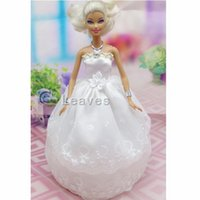 Wholesale color Handmade Toy inch kids baby doll Clothes for girls White angel embroidery wedding dress best gift for my baby