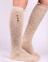 Wholesale 2015 Women Button Lace stockings boot cuff Leg Warmers Foot socks boot cuff lace knit leg warmer Western style pair