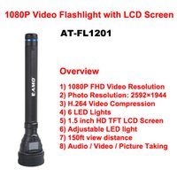 Wholesale Handheld P Audio Video Recording Flashlight DVR quot LCD Screen H LED Light ft Degree Wide Angle Lens AT FL1201 W1106A