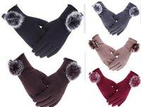 Wholesale Boutique women touchscreen gloves five Fingers rabbit fur fleece Gloves outdoor sports winter warm wear mittens Christmas gift colors