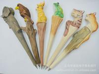 Wholesale creative pen Animal carvings wood animal pens wood paint pen manual sculpture