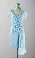 beautiful exchange - Beautiful Sweetheart Tiered Chiffon Mini Length Light Blue Cap Sleeves Prom Gowns Zipper Back Detail Day Exchange or Return