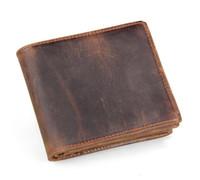 al por mayor monedero de la tarjeta de dinero-Hombres de cuero genuino Retro Bifold Bifold Cartera de cuero de monedero monedero de tarjeta de dinero Clips Slim Vintage diseño monedero