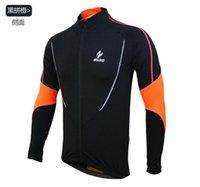 Precio de Camiseta para correr verde-Naranja Azul Verde Negro 2015 de ciclismo manga larga Camisas calientes Vestimenta de ciclismo MTB Bike Shirts Pesca Correr camisas termal del invierno que desgasta