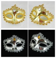 PVC rhinestone mask - Party Masks Sexy Lace rhinestone Gold Plating Mask Venetian Masquerade Party Decorations Carnival Fancy Dress wedding favor Christmas gift