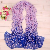 Wholesale woman Chiffon scarf printed round dot color new Professional scarves high quality piece