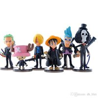 Wholesale One Piece Set cm Q version Luffy Roronoa Tony PVC Japan Anime Action Figure Toys Collection Model Doll Gift For Boys
