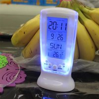 plastic table clock - S Home LED Backlight Digital Calendar Thermometer Date Time Desk Alarm Clock Table Clocks