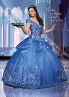 beauty picks - Sweet Sixteen Quinceanera Dresses V Neck Navy Blue Prom Masquerade Ball Gowns Fall Pick up Beaded Applique Organza Beauty Pageant Dress