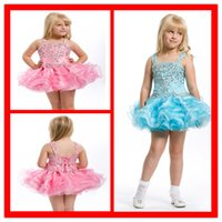 Wholesale Little Girls Pageant Dresses Ball Gown Sweet Pink Color Cheap Price Mini Short Tiered Ruffles Elegant Blue Color Kids Dress For Event