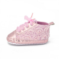 Wholesale The Baby Rroses Shoes Floral Style First Walkers Fashion Shoes Lace up Month Baby Girl Shoes To Choose Baby Shoes
