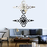 Cheap Modern Round Ring 3D DIY Wall Clock Acrylic Mirror Sticker Watch Home Decor EMS DHL Free Shipping Mail