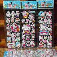Wholesale 2015 New Hello Kitty Anime Cartoon Stickers D PVC Adhesive Bubble Stickers Kids Classic Toys Craft For baby Children