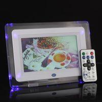 achat en gros de sd bureau images-Multi-fonctionnel 7 TFT-LCD Digital Photo Picture Frame MP3 Alarm MP4 Player Horloge Lumière Clignotant Remote Desktop Control