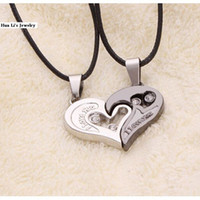 Wholesale 2015 New hot fashion man and women wholeheartedly couple necklace heart shaped Rhinestone pendant valentine gift couple pendants