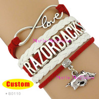 Wholesale Pieces Infinity Love Arkansas Razorbacks Sports Team Bracelet NCAA Team Cardinal White Custom Sports Cheer Bracelets