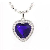 Precio de Colgante de zafiro titánica-Collar Corazón Titanic de la cadena Creado mujeres azul colgante de diamante de plata esterlina Zafiro Pingente Amor SYA58