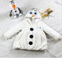 achat en gros de manteaux lolita d'hiver-One Piece Anime Film Glacé Neige Olaf costume 2-7 Age Snowman berbère Toison d'hiver très chaud Manteau Veste à capuche nouveau arriver le bateau libre