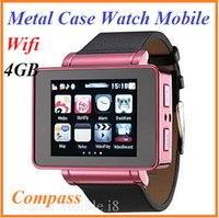 Wholesale Metal Casing Leather Strap Watch Mobile Phone Wifi Compass GPRS quot Touch Screen