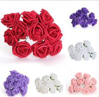 foam flowers - 7cm head Multicolor PE rose foam flower Bouquet solid color artificial rose flower For Wedding Party Home Decor JIA209