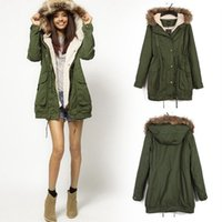 Cheap Hot Sale Winter Women Warm Hooded Military Green Faux Fur Long Girls Coat Parka Overcoat 2102