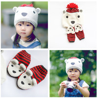 bear ear sweater - New Cartoon Children s Sweaters Caps Sets Polar Bear Baby Boys Girls Striped Ear Warm Hats Gloves Kids Outdoor Hat Set A4795