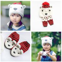 bear hat gloves - New Cartoon Children s Sweaters Caps Sets Polar Bear Baby Boys Girls Striped Ear Warm Hats Gloves Kids Outdoor Hat Set A4795