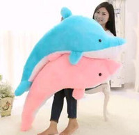 big plush dolphin - 100CM Giant Huge Cuddly Stuffed Animals Plush Lovely big dolphin doll Blue Pink