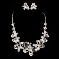 Wholesale 5sets Hot Sale Butterfly Trendy Design Luxury Rhinestone Crystal Necklaces Earring Stick Bride Jewelry Sets for Bridal Wedding