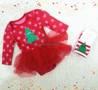 Wholesale Christmas Lace Jumpsuit Rompers Baby Girls Socks Children Clothes Kids Clothing Spring Autumn Girl Dress Baby Suit Kids Sets Infant Outfits